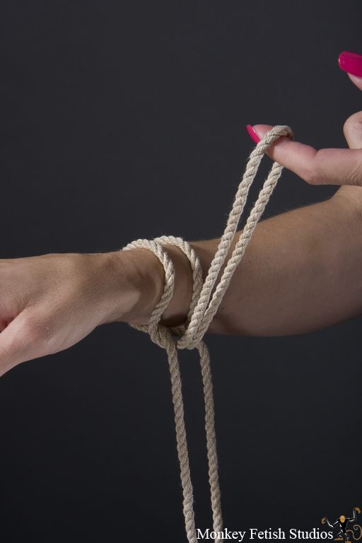 Step 6 - Pull the bight back around the wrist between the existing ropes.